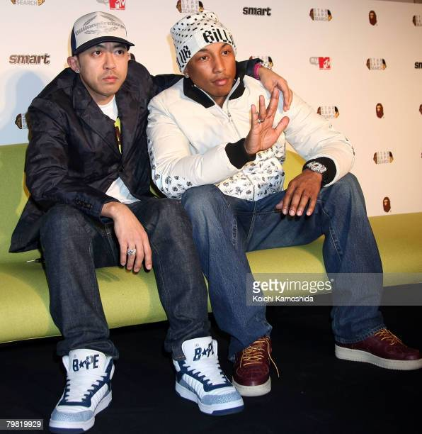 Producer and musician Pharrell Williams and designer NIGO attend 'Star Bape Search' press conference at MTV Japan on February 18 2008 in Tokyo Japan...