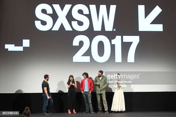 SXSW Producer and Senior Programmer Jarod Neece director/actress Noel Wells actors Andre Hyland Nick Thune and Britt Lower speak onstage during the...
