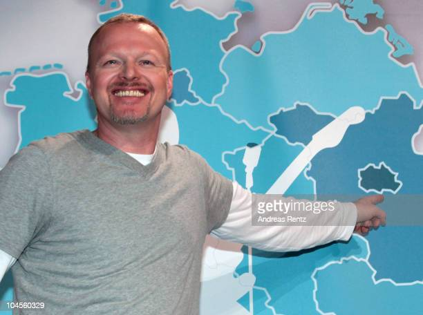 Producer and TV host Stefan Raab attends a press conference to promote the 'Bundesvision Song Contest 2010' at the MaxSchmeling Hall on September 30...