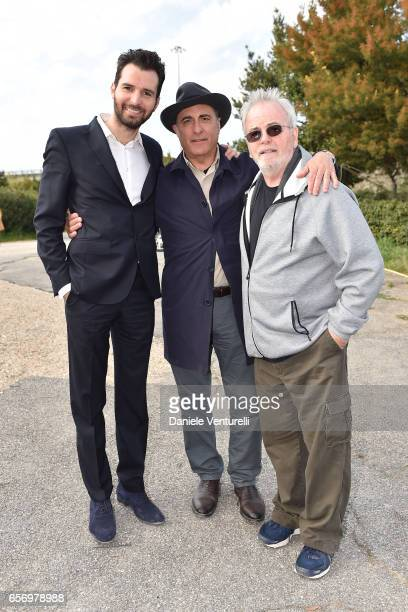Producer Andrea Iervolino Andy Garcia and Bobby Moresco attend On Set Of BENT By AMBI Media Groupon March 23 2017 in Rome Italy