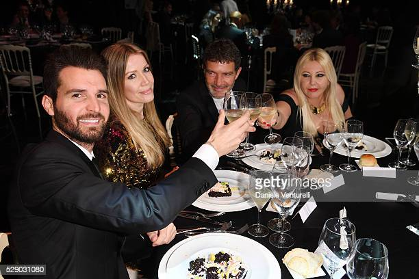 Producer Andrea Iervolino Nicole Kimpel Antonio Banderas and producer Lady Monika Bacardi attend AMBI GALA in honor of Antonio Banderas and Jonathan...