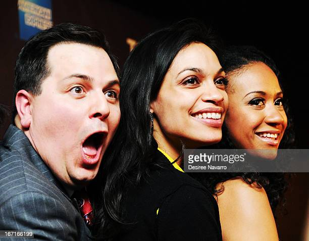 Producer Andy Pagana actors Rosario Dawson and Tracie Thoms attend the screening of 'Raze' during the 2013 Tribeca Film Festival at BMCC Tribeca PAC...