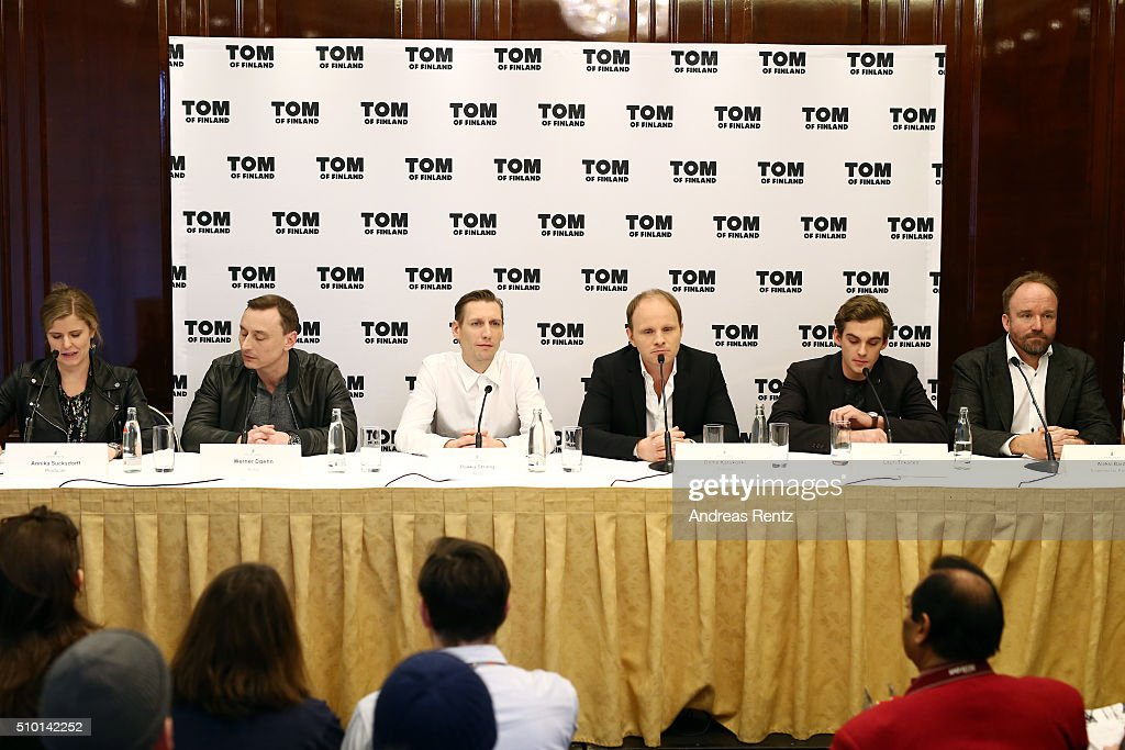 Producer Annika Sucksdorff, actors Werner Daehn, Pekka Strang, Lauri Tilkanen and producer Aleksi Bardy attend the 'Tom of Finland' press conference during the 66th Berlinale International Film Festival Berlin at Ritz Carlton on February 14, 2016 in Berlin, Germany.