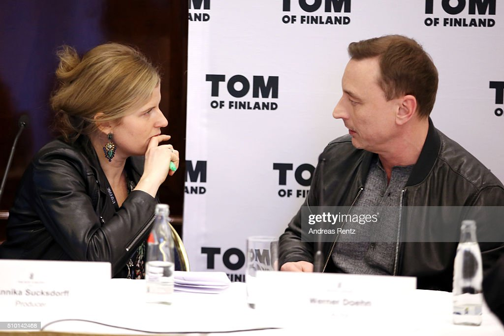 Producer Annika Sucksdorff and actor Werner Daehn attend the 'Tom of Finland' press conference during the 66th Berlinale International Film Festival Berlin at Ritz Carlton on February 14, 2016 in Berlin, Germany.
