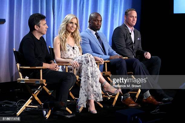 Producer Arthur Smith and TV personalities Kristine Leahy Akbar Gbajabiamila and Matt Iseman speak onstage during the 'American Ninja Warrior' panel...