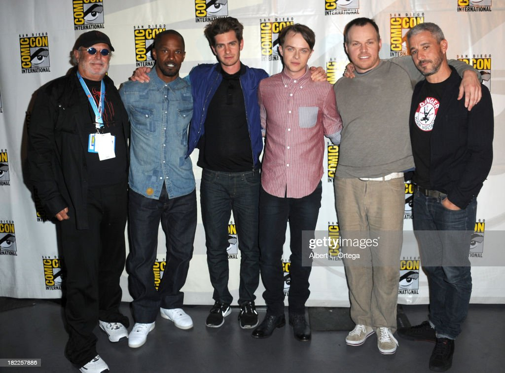 Producer Avi Arad, actor Jamie Foxx, actor Andrew Garfield, actor Dane DeHaan, director Marc Webb and producer Matthew Tolmach attend The Sony and Screen Gems Panel featuring The Amazing Spider-Man 2 as part of Comic-Con International 2013 held at San Diego Convention Center on Friday July 19, 2012 in San Diego, California.