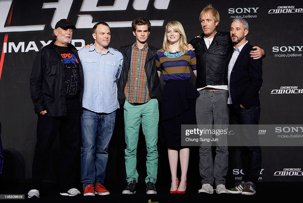 Producer Avi Arad, director Marc Webb, actor Andrew Garfield, actress Emma Stone, actor Rhys Ifans and producer Matt Tolmach attend the 'The Amazing Spider-Man' Press Conference on June 14, 2012 in Seoul, South Korea. The film will open on June 28 in South Korea.