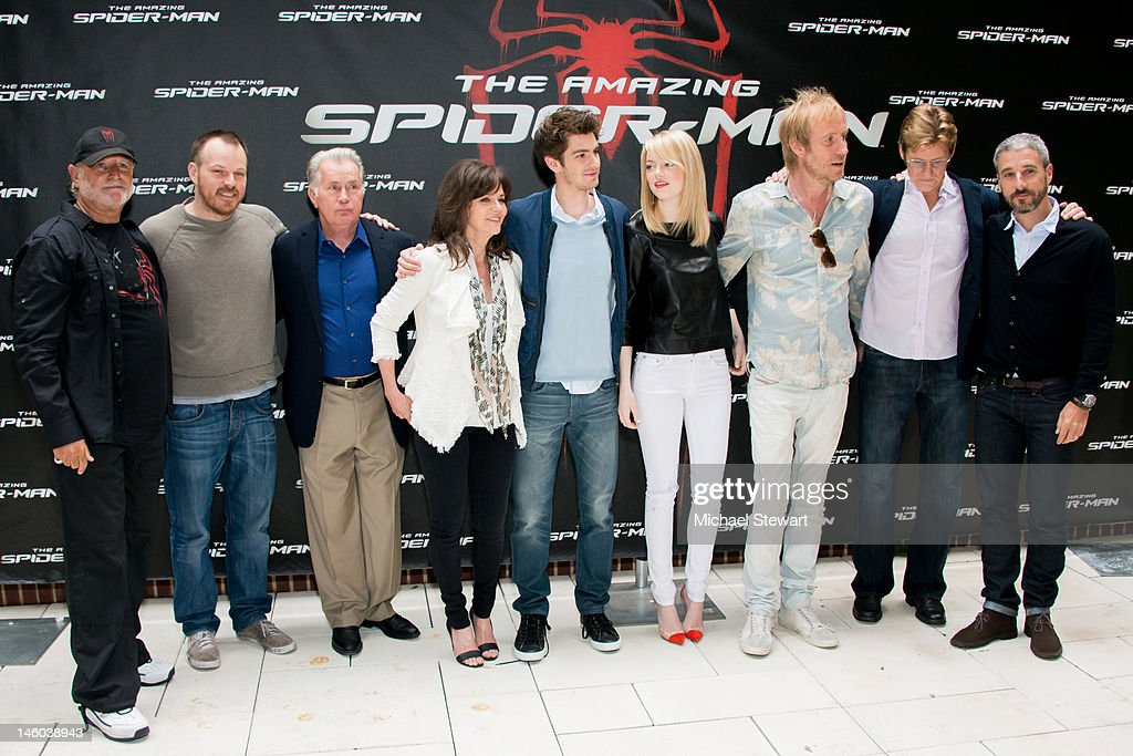 Producer Avi Arad, director Marc Webb, actor Martin Sheen, actress Sally Field, actor Andrew Garfield, actress Emma Stone, actor Rhys Ifans, actor Denis Leary and producer Matt Tolmach attend the 'The Amazing Spider-Man' New York City Photo Call at Crosby Street Hotel on June 9, 2012 in New York City.