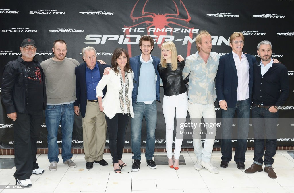 Producer Avi Arad, director Marc Webb, actors Martin Sheen, Sally Field, Andrew Garfield, Emma Stone, Rhys Ifans and Denis Leary, and producer Matt Tolmach attend the 'The Amazing Spider-Man' New York City Photo Call at Crosby Street Hotel on June 9, 2012 in New York City.