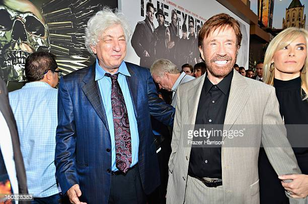 Producer Avi Lerner and Actor Chuck Norris arrive at Lionsgate Films' 'The Expendables 2' premiere on August 15 2012 in Hollywood California