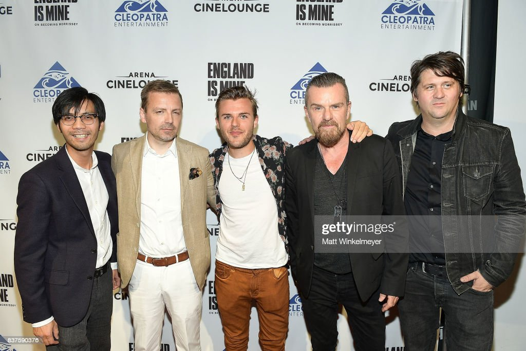 Producer Baldwin Li, director Mark Gill, actor Adam Lawrence, guitarist Billy Duffy, and producer Orian Williams attend the screening of 'England Is Mine' at The Montalban on August 22, 2017 in Hollywood, California.