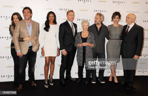 Producer Barbara Broccoli Javier Bardem Naomie Harris Daniel Craig Dame Judi Dench director Sam Mendes Berenice Marlohe and producer Michael G Wilson...