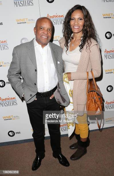 Producer Barry Gordy Jr and his guest attend the Premiere Of 'American Masters Inventing David Geffen' at The Writers Guild of America on November 13...