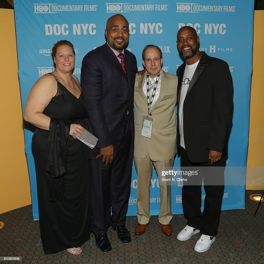 Producer Barry Greenstein (2nd R) poses with retired basketball players Dennis Scott (2nd L) and Kenny Anderson (R) at the screening of 'Mr. Chibbs' during DOC NYC held at the SVA Theater on November 12, 2016 in New York City.