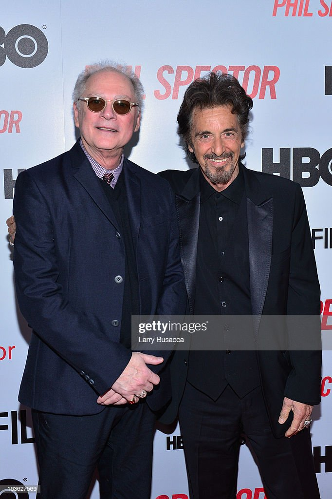 Producer <a gi-track='captionPersonalityLinkClicked' href=/galleries/search?phrase=Barry+Levinson&family=editorial&specificpeople=221310 ng-click='$event.stopPropagation()'>Barry Levinson</a> and actor <a gi-track='captionPersonalityLinkClicked' href=/galleries/search?phrase=Al+Pacino&family=editorial&specificpeople=202658 ng-click='$event.stopPropagation()'>Al Pacino</a> attend the 'Phil Spector' premiere at the Time Warner Center on March 13, 2013 in New York City.