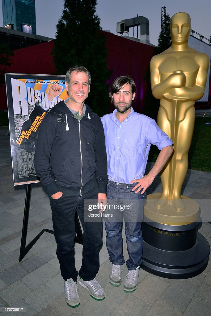 Producer Barry Mendel and actor <a gi-track='captionPersonalityLinkClicked' href=/galleries/search?phrase=Jason+Schwartzman&family=editorial&specificpeople=216351 ng-click='$event.stopPropagation()'>Jason Schwartzman</a> attend 'Oscars Outdoors' summer screening series of 'Rushmore' at Oscars Outdoors on August 17, 2013 in Hollywood, California.