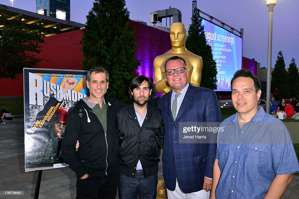 Producer Barry Mendel and actor <a gi-track='captionPersonalityLinkClicked' href=/galleries/search?phrase=Jason+Schwartzman&family=editorial&specificpeople=216351 ng-click='$event.stopPropagation()'>Jason Schwartzman</a>, editor David Moritz, assistant art director Austin Gorg attend 'Oscars Outdoors' summer screening series of 'Rushmore' at Oscars Outdoors on August 17, 2013 in Hollywood, California.