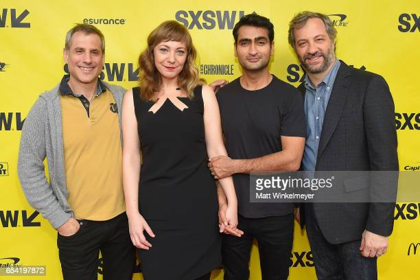 Producer Barry Mendel writer Emily V Gordon writer/actor Kumail Nanjiani and producer Judd Apatow attend the 'The Big Sick' premiere 2017 SXSW...