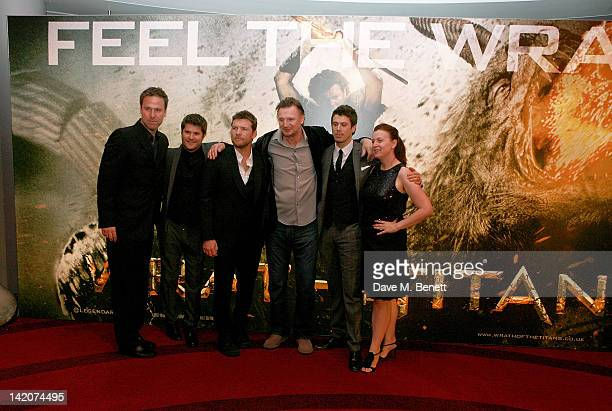Producer Basil Iwanyk director Jonathan Liebesman actors Sam Worthington Liam Neeson and Toby Kebbell and producer Polly Johnsen pose at the European...