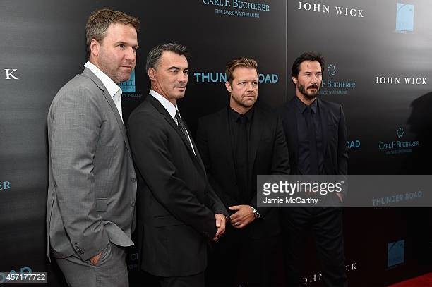 Producer Basil Iwanyk directors Chad Stahelski and David Leitch and actor Keanu Reeves attend the 'John Wick' New York Premiere at Regal Union Square...