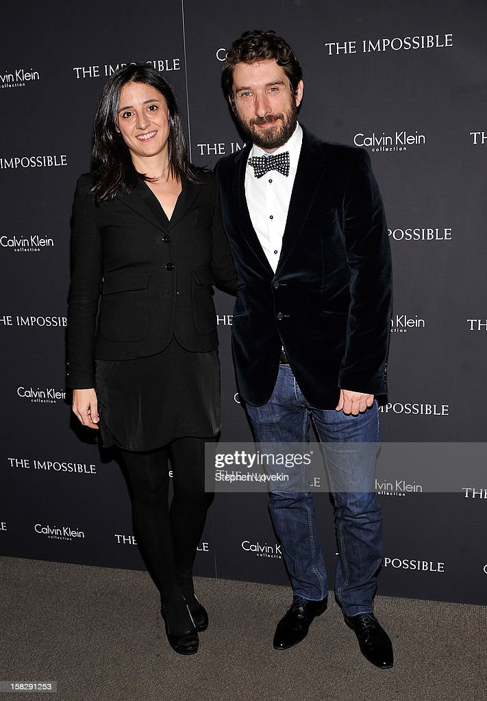Producer Belen Atienza and screenwriter Sergio Sanchez attend 'The Impossible' New York special screening at Museum of Art and Design on December 12, 2012 in New York City.