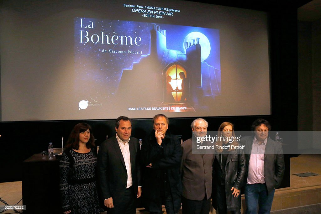 Producer Benjamin Patou, Sets and Costumes, Enki Bilal, Stage Director Jacques Attali, First violin and Orchestra Director Anne Gravoin and Musical direction, Patrick Souillot attend the 'Opera en Plein Air 2016' : Press Conference for the Opera 'La Boheme', wich will be performed at Hotel Des Invalides on from September 6 to 10, 2016. Held Hotel Des Invalides on April 12, 2016 in Paris, France.