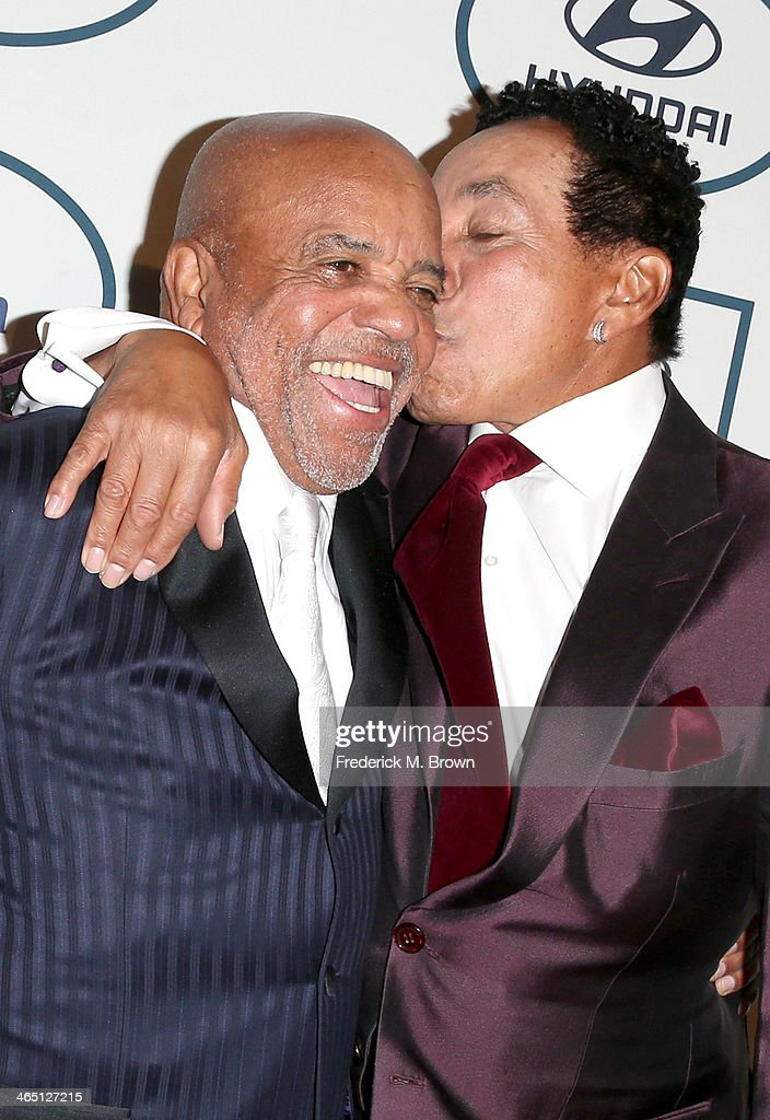 Producer Berry Gordy (L) and recording artist Smokey Robinson attend the 56th annual GRAMMY Awards Pre-GRAMMY Gala and Salute to Industry Icons honoring Lucian Grainge at The Beverly Hilton on January 25, 2014 in Beverly Hills, California.