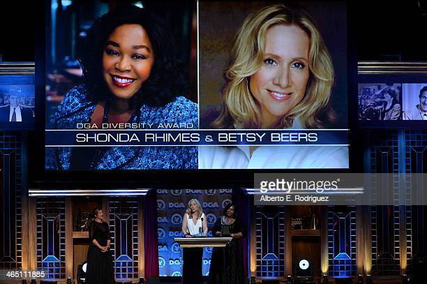 Producer Betsy Beers and writer/producer Shonda Rhimes accept the Diversity Award from director Allison LiddiBrown onstage at the 66th Annual...