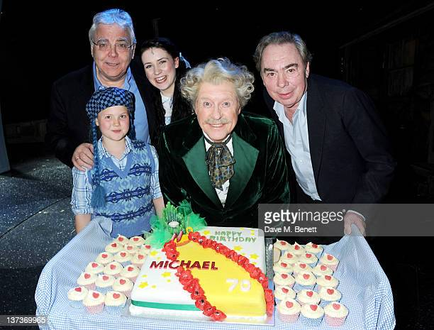 Producer Bill Kenwright Emily Barlow Danielle Hope Michael Crawford and Lord Andrew Lloyd Webber celebrate Michael's 70th birthday onstage following...