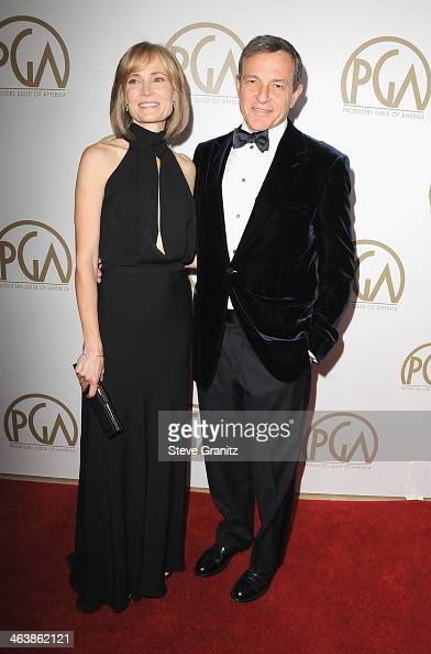 Producer Bob Iger and actress Willow Bay attend the 25th annual Producers Guild of America Awards at The Beverly Hilton Hotel on January 19 2014 in...