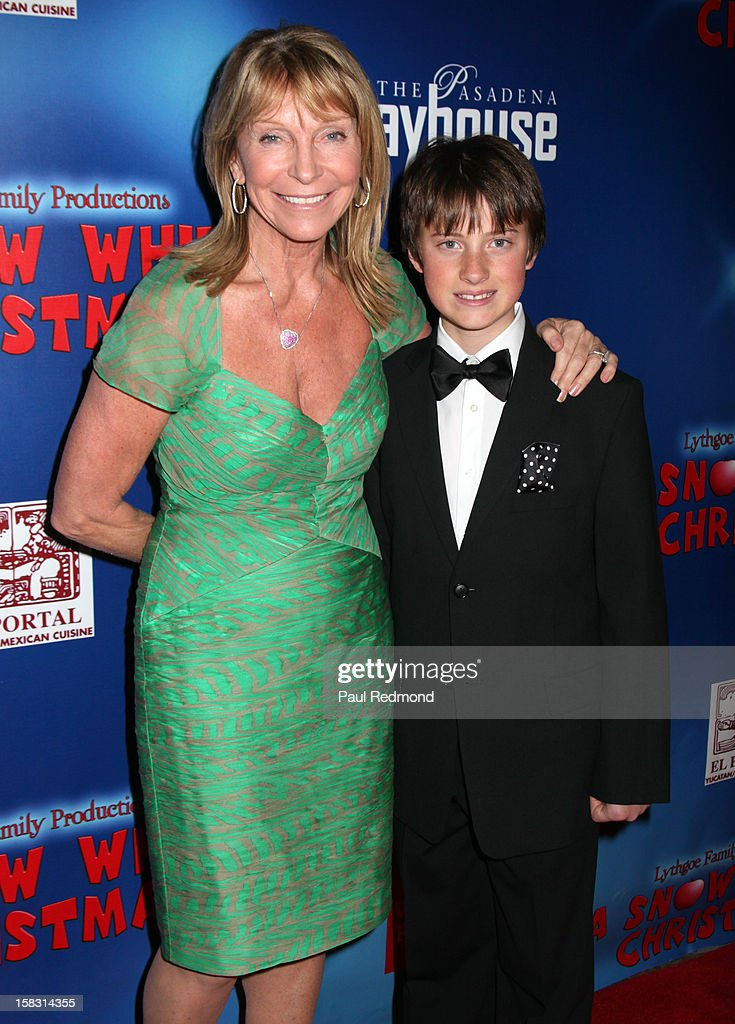 Producer Bonnie Lythgoe and Kyan Lythgoe arrive at the Pasadena Playhouse and Lythgoe Family Production's 'A Snow White Christmas' at Pasadena Playhouse on December 12, 2012 in Pasadena, California.