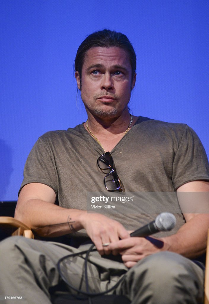 Producer <a gi-track='captionPersonalityLinkClicked' href=/galleries/search?phrase=Brad+Pitt+-+Actor&family=editorial&specificpeople=201682 ng-click='$event.stopPropagation()'>Brad Pitt</a> attends a Q&A for the film 12 Years a Slave at the 2013 Telluride Film Festival - Day 3 on August 31, 2013 in Telluride, Colorado.