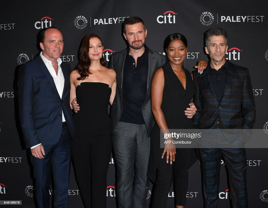 Producer Bradford Winters, actors Ashley Judd, Richard Armitage, Keke Palmer and Leland Orser arrive on the red carpet for the EPIX 'Berlin Station' preview at The Paley Center for Media in Beverly Hills, California, on September 16, 2017. / AFP PHOTO / Mark RALSTON