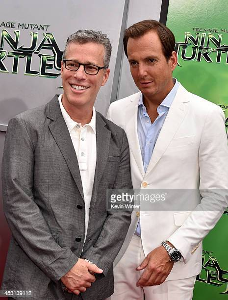 Producer Bradley Fuller actor Will Arnett attend the premiere of Paramount Pictures' 'Teenage Mutant Ninja Turtles' at Regency Village Theater on...
