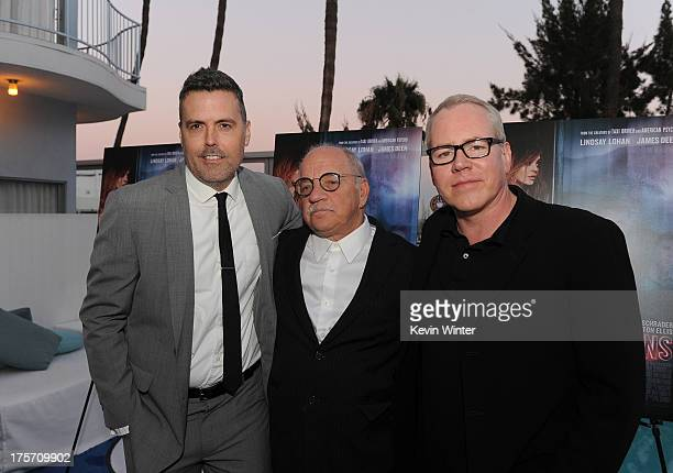 Producer Braxton Pope director Paul Schrader and writer Bret Easton Ellis arrive at the premiere of IFC Film's 'The Canyons' at The Standard Hotel on...