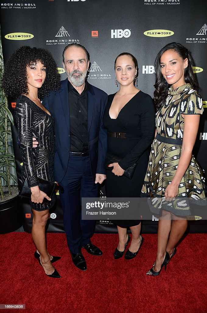 Producer Bruce Sudano (2nd L), husband of the late Donna Summer, inductee, with their daughters (L-R) Amanda Sudano, Mimi Sommer and <a gi-track='captionPersonalityLinkClicked' href=/galleries/search?phrase=Brooklyn+Sudano&family=editorial&specificpeople=677792 ng-click='$event.stopPropagation()'>Brooklyn Sudano</a> attend the 28th Annual Rock and Roll Hall of Fame Induction Ceremony at Nokia Theatre L.A. Live on April 18, 2013 in Los Angeles, California.