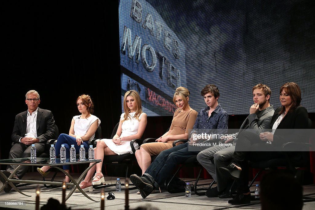Producer Carlton Cuse, actors Olivia Cooke, Nicola Peltz, Vera Farmiga, Freddie Highmore, Max Thieriot, and Executive Producer Kerry Ehrin speak onstage during the 'Bates Motel' panel discussion at the A&E Network portion of the 2013 Winter TCA Tourduring 2013 Winter TCA Tour - Day 1 at Langham Hotel on January 4, 2013 in Pasadena, California.