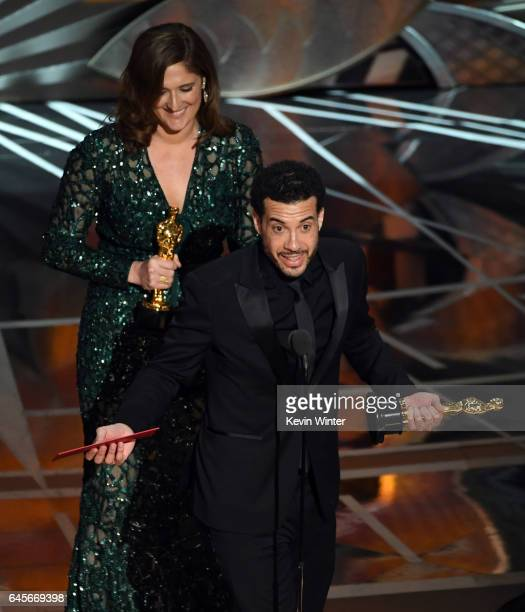 Producer Caroline Waterlow and director Ezra Edelman accept Best Documentary Feature for 'OJ Made in America' onstage during the 89th Annual Academy...