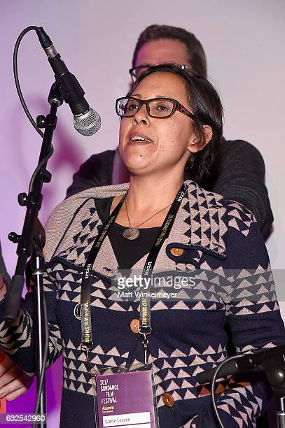 Producer Carrie Lozano speaks onstage at the Film Independent International Documentary Association Oovra Music And RO*CO FILMS Sundance Party at OP...