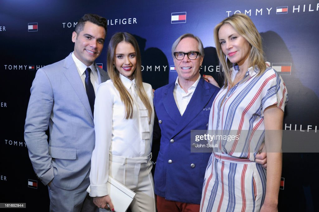 Producer Cash Warren, actress Jessica Alba, fashion designer Tommy Hilfiger, and fashion designer Dee Hilfiger attend Tommy Hilfiger New West Coast Flagship Opening After Party at a Private Club on February 13, 2013 in West Hollywood, California.