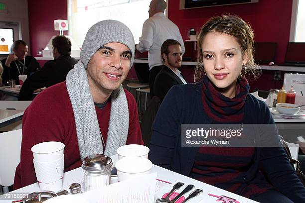 Producer Cash Warren and actress Jessica Alba visit the TMobile Cafe at Village at the Yard on January 19 2008 in Park City Utah