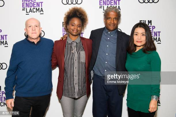 Producer Cassian Elwes director Dee Rees Elvis Mitchell and editor Mako Kamitsuna attend 'Film Independent at LACMA presents 'Mudbound' screening And...
