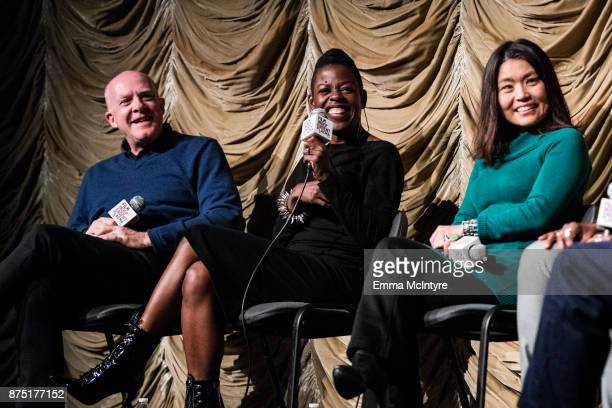 Producer Cassian Elwes makeup artist Angie Wells and editor Mako Kamitsuna speak onstage at 'Film Independent at LACMA presents 'Mudbound' screening...