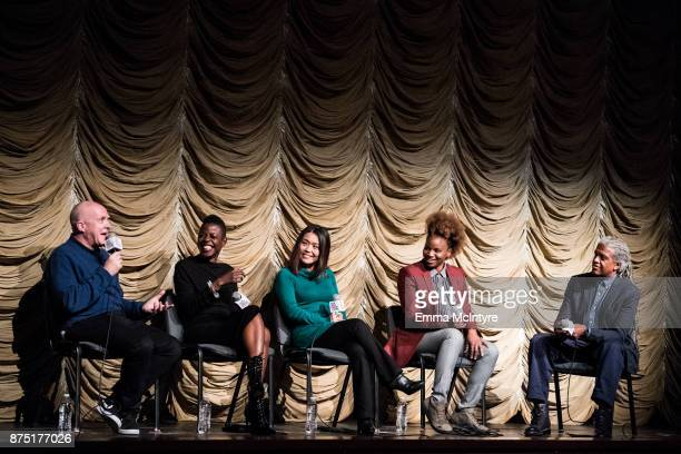 Producer Cassian Elwes makeup artist Angie Wells editor Mako Kamitsuna director Dee Rees and Elvis Mitchell speak onstage at 'Film Independent at...