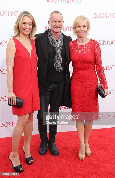 Producer Celine Rattray Sting and Executive Producer Trudie Styler attend the 'Black Nativity' premiere at The Apollo Theater on November 18 2013 in...