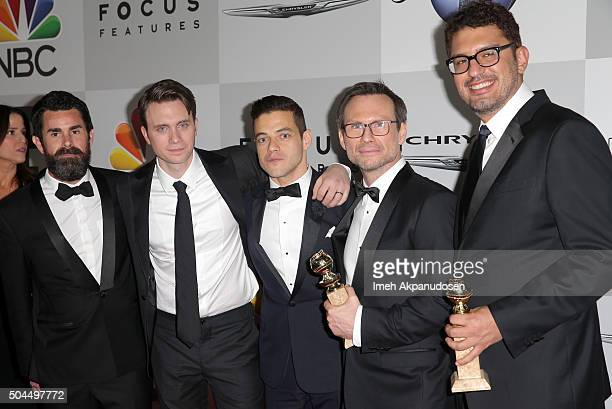 Producer Chad Hamilton actors Martin Wallstrom Rami Malek Christian Slater and writer/producer Sam Esmail attend Universal NBC Focus Features and E...