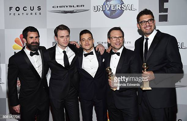 Producer Chad Hamilton actors Martin Wallstrom Rami Malek Christian Slater and writer/producer Sam Esmail arrive at NBCUniversal's 73rd Annual Golden...
