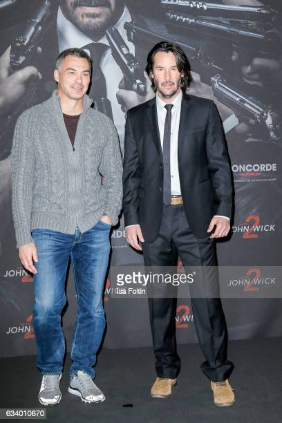 Producer Chad Stahelski and US actor Keanu Reeves attend the 'John Wick Kapitel 2' Photocall at Hotel De Rome on February 6 2017 in Berlin Germany