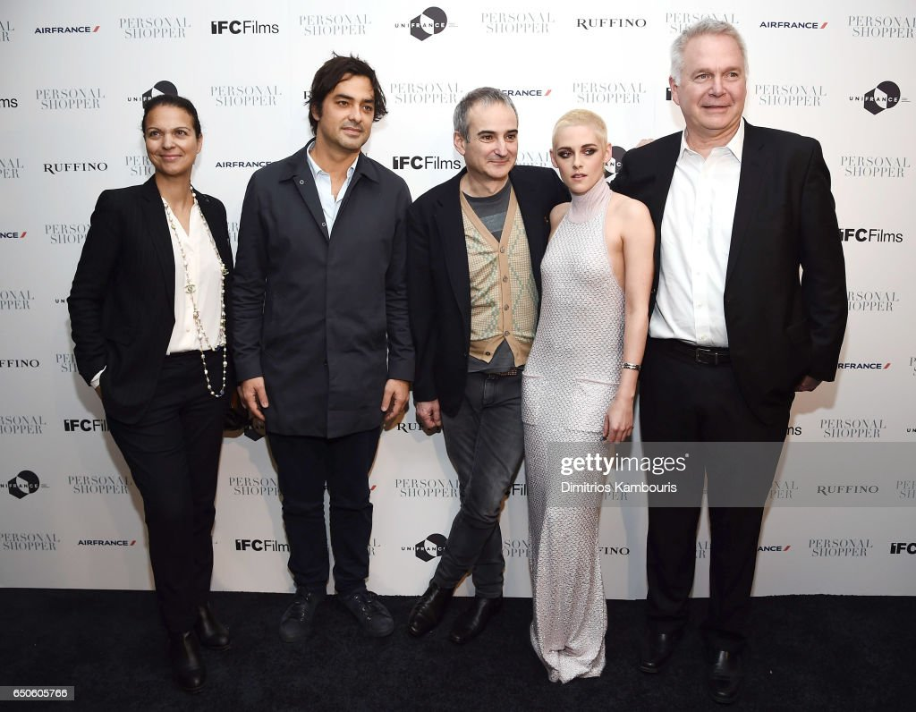 Producer Charles Gillibert (2nd from L) and guests pose with Director Olivier Assayas (3rd from L) and actress Kristen Stewart at the 'Personal Shopper' premiere at Metrograph on March 9, 2017 in New York City.