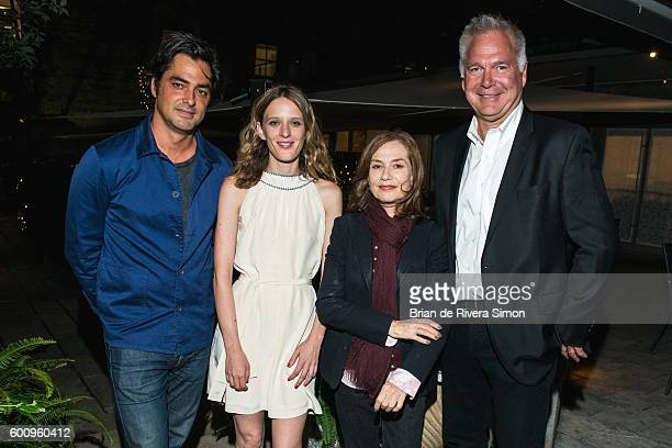 Producer Charles Gillibert Director Mia HansenLove Actress Isabelle Huppert and Copresident of IFC Films Jonathan Sehring host dinner celebrating the...